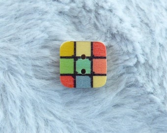 NICE COLOR HARLEQUIN SQUARE WOODEN BUTTONS