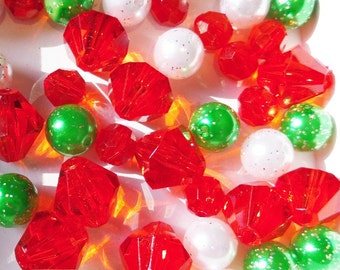 Green, White and Red Bead Collection, 10mm beads and larger, K29