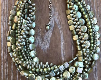 Exceptional Multi-strand CELERY GREEN  Freshwater PEARL Adjustable Necklace