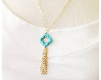 Gold Chain Tassel Necklace, Turquoise Clover Jewelry, Trendy Necklace, Mother's Day, Gift Idea for Her, Easter Necklace Sale