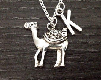 Initial Necklace, Camel Necklace with Initial, Large Camel Jewelry, Arabian Theme Jewelry, Animal Lover Necklace, Personalized Friend Gift