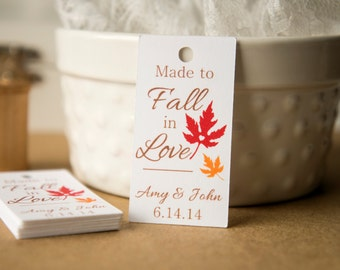 Made to Fall in Love Wedding Favor Tags, Fall Wedding Favor Tag, Match to your Wedding Colors