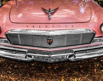 1956 Chrysler New Yorker PINK Car Photography, Automotive, Auto Dealer, Muscle, Sports Car, Mechanic, Girls Room, Garage, Dealership Art