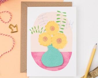 Yellow Flower Vase Greetings Card