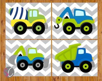 Boys Construction Truck Vehicles Wall Art Toddler Bedroom Playroom Decor Trucks Lime Green Navy Blue 4 - 8x10 Digital JPG
