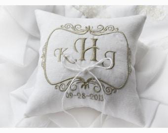 Linen Wedding pillow , wedding pillow , ring bearer pillow, ring bearer pillow personalized wedding pillow (R47)