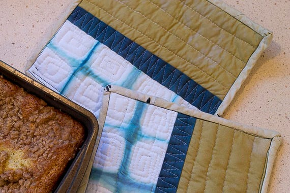 Set of Quilted Potholders, Modern Shibori Pot Holders