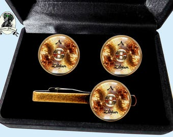 Cuff links and tie clips, Set Cufflinks, cuff links for drummer, gift for musician husband gift, gift for Dad drums cimbal, set drums cimbal