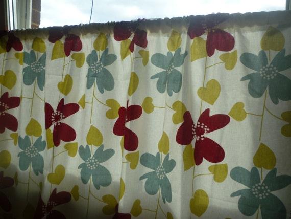 Rote Cafe Vorhang Volant Robin blau grün Funky floralen Rod