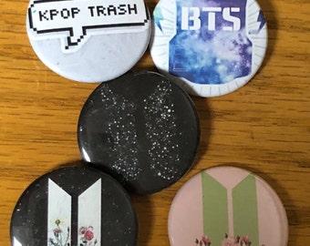 BTS -Kpop 1.5 inch Button Set New! 5 Button Set
