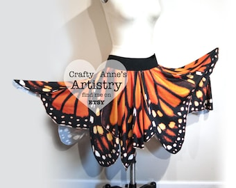 Monarch Butterfly Wing Skirt Fairy Wings adult, Monarch Halloween Costume or Renaissance Festival, Monarch Costume