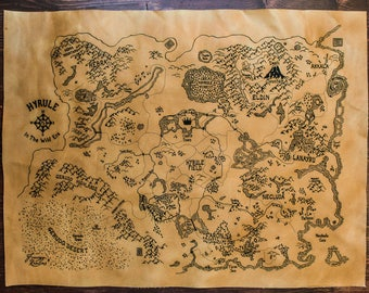 Hyrule - Breath of the Wild Map on Leather