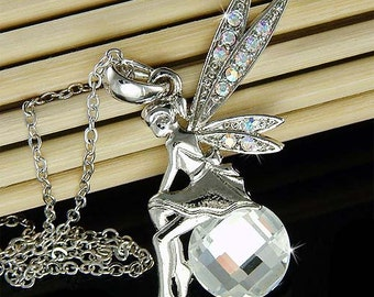 Swarovski Crystal Tinkerbell Tinker Bell Pixie Magic Ball Fairy Charm Pendant Necklace Best Friend Birthday Christmas Gift NEW
