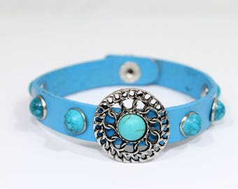 Zayas-Pizarro- Turquoise Leather Bracelet with Blue Rivets