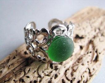 Emerald Green - Sea Glass - Wide Cocktail Ring - Beach Glass Ring - Beach Glass Jewelry