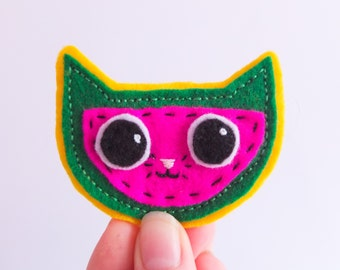 Cat Patch, Watermelon sew on Patch , Pip the Melon Cat Patch, Sew on felt patch, Melon, Hand made, Patch, Bright, Fruit, Cute