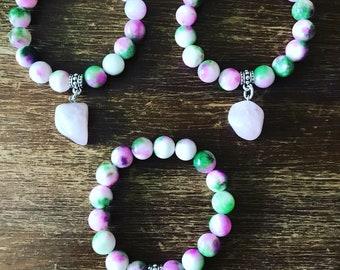 Persian Jade and Rose Quartz Bracelet.