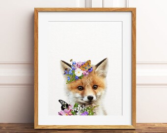 Fox Print, Fox With Flowers Art, Floral Baby Animals, Butterfly, Woodland Animal Prints, Nursery Wall Art, Nursery Decor, Kids Printable Art