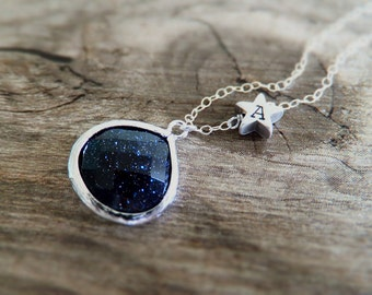 Starry Night Necklace - Blue Goldstone - Personalized Gift - Constellation Gift - Silver Shooting Star - Gift for Her