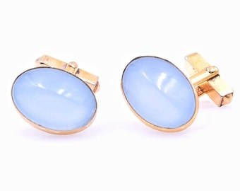 Blue moonglow cufflinks, vintage Swank cufflinks,  tuxedo shirt cufflinks, prom cufflinks, wedding cufflinks, gold oval cufflinks