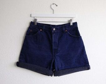 VINTAGE Denim Shorts Levis 951 Jeans Relaxed Dark Blue Made in USA Womens Medium 29 Waist