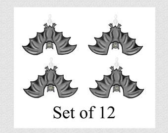 Halloween Bats....Bling Charm Ornaments...Set of 12