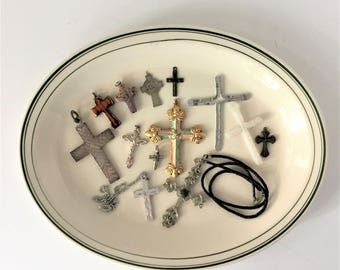 Assorted Crosses Collection, Destash Lot of 13 Crucifixes and Protestant Crosses, Altered Art Jewelry Making Supplies Scrapbooking Collages