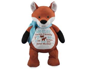Fox personalized stuffed birth announcement , Embroidered Fox,Plush Fox toy, Fox cuddly animal, Fox baby keepsake gift