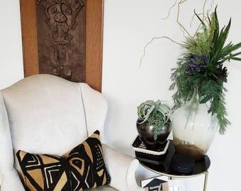 Designer Lumbar Bolster Pillow Cover Handmade Mudcloth Bambara Pillow Cover Home Decor Decorator Fabrics Black and Khaki