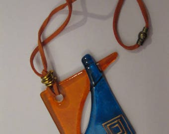Handmade painted glass necklace pendant Orange and Blue