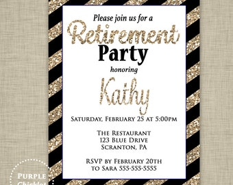 Gold Retirement Invitation Black Stripes Gold Glitter Retirement Party Invite Celebration Digital Printable JPG File 354d