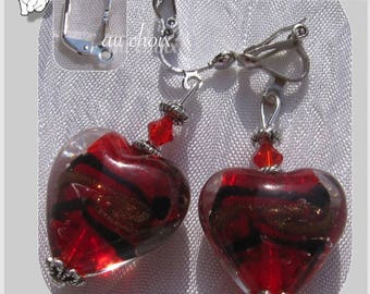"""CLIPS / EARRINGS STUD EARRINGS TO CHOOSE GLASS RED CRYSTALS """"PASSION"""""""