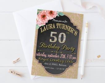 Diamond Birthday Invitation / Digital Printable Invite for Adults / DIY Party