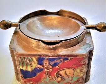 1930's Brass Chinese Cloisonne Incense Burner with Flip Top Depicting Scene With Farmer And Cow / Bull