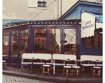 Paris Photograph - French Photography - Paris Cafe - Place du Tertre -  Fine Art Photograph - Bistro - Bistro Chairs - Springtime in Paris