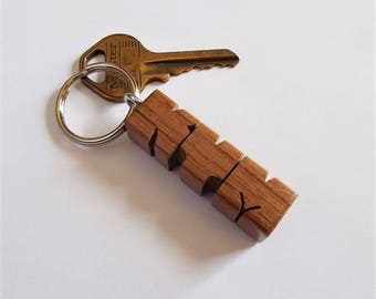 KYM - Sample Name Keychain in Walnut Wood