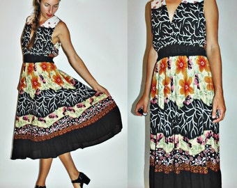 SALE  1980s / 90s Multi Print Black Floral Layers & Roots Summer Dress