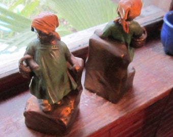 marion bronze clad bookends little girls carrying baskets excellent condition