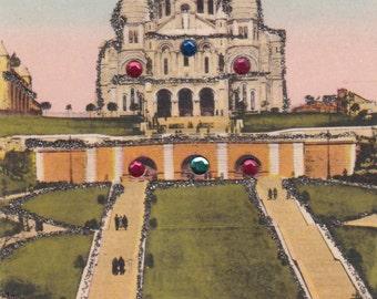 Architecture France 1950  Paris  Montmarte Sacre Coeur Basilica W Glitter&Colored Stones Postcard