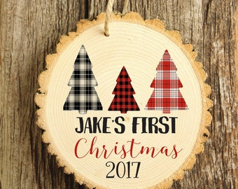 Baby's First Christmas  Ornament - Modern Christmas Ornament - Woodys Style Ornament - Wood Ornament - Woodland Ornament XMAS006