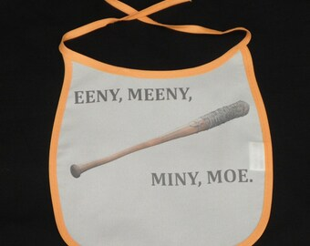 Eeny Meeny Miny Moe Baby Bib - Baby Gifts - Baby Shower - Geeky Baby Accessories - Quirky Baby Gift - Baby Girl/Boy Gift - Zombie Fan Gift