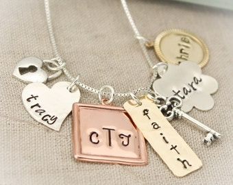 Personalized Charm Necklace, Mommy Necklace, Family Jewelry, Hand Stamped Jewelry, Mixed Metals Necklace, Mother's Day Gifts, Gifts for Her