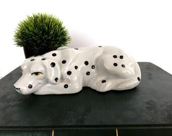 Spotted Dog Figurine, Dalmation Figurine, Ceramic, Firehouse Dog, Resting Dog,