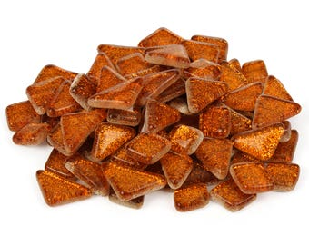 Orange Glitter Mosaic Tile Pieces - Bulk Sparkle Mosaic Tiles - Shimmer Tile Assortment - Tangerine Mango Citrus Tile