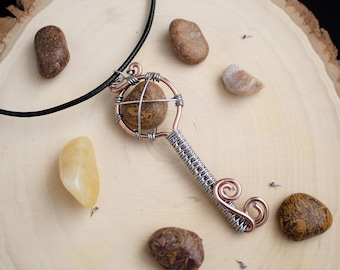 Golden Silk Jade/Calligraphy Stone Wire Wrap Key