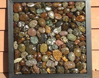 Speckled Stone Mosiac in Black Frame
