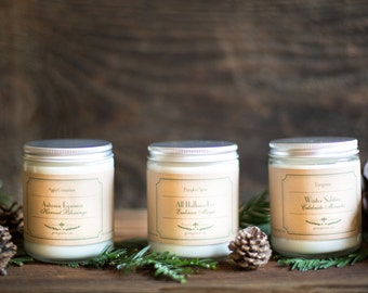 Holiday Season Soy Candle Collection - Saison Des Fêtes Collection, Halloween Candle, Fall Candle, Christmas Candle, Pumpkin Spice Candle