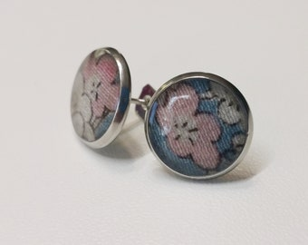 Silver toned stainless steel stud earrings with pink plum blossom kimono silk