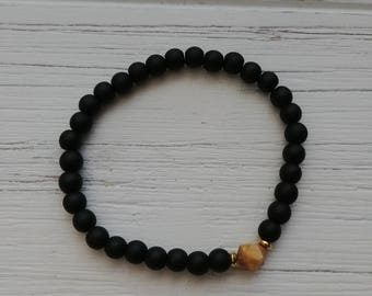 Eye of the Tiger 6mm Geometric tigers eye with matte Black Onyx