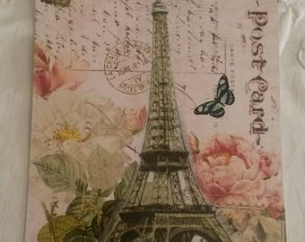 Vintage postcard for scrapbooking / decor roses antique and Eiffel Tower /embellissement